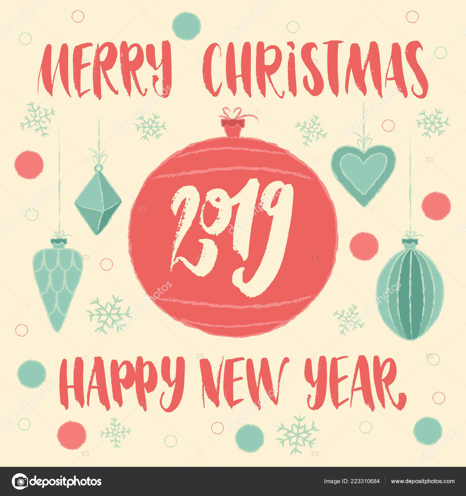 Merry Christmas Happy New Year 2019 Greeting Card
