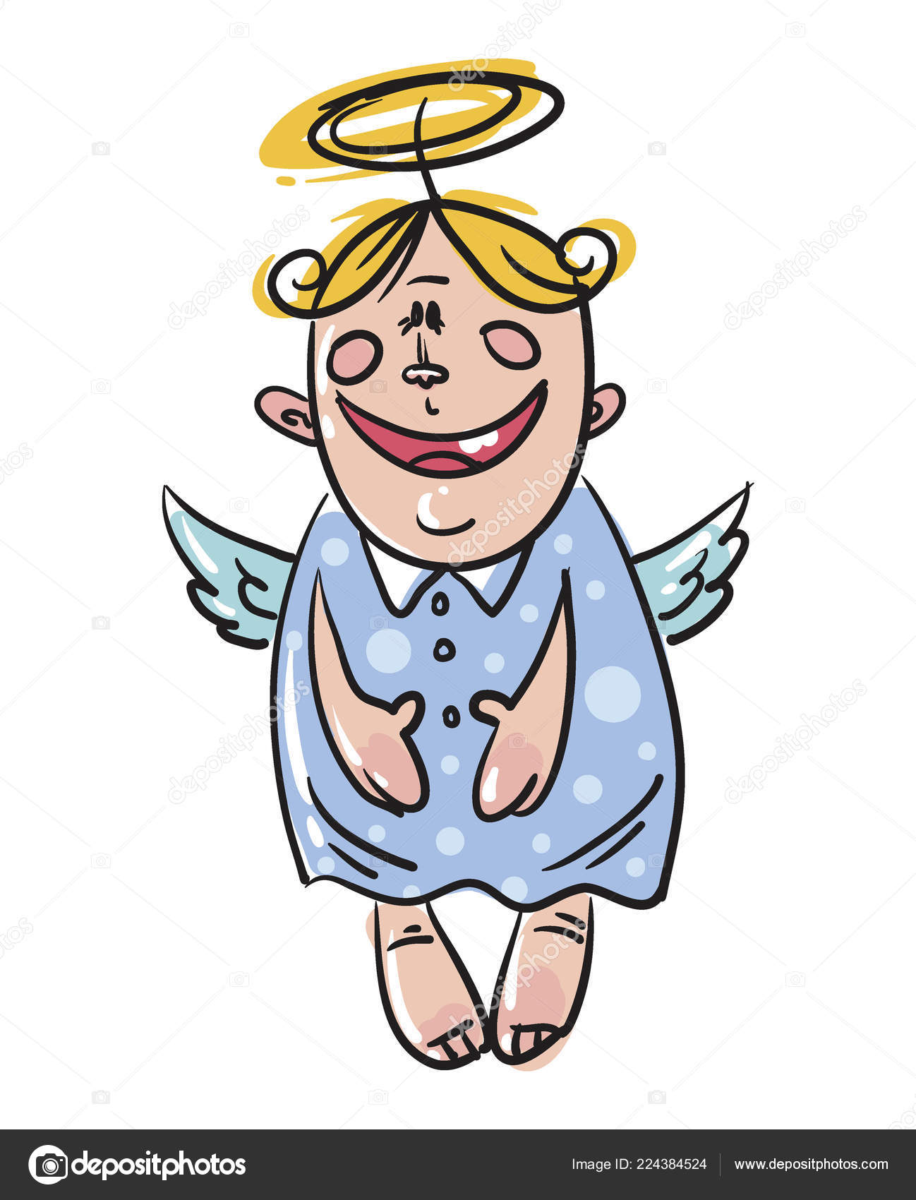 Funny Angel : funny, angel, Funny, Christmas, Angel, Vector, Illustration, Image, YurikswO, Stock, 224384524