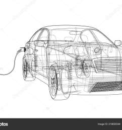electric vehicle charging station sketch vector rendering of 3d wire frame style the layers of visible and invisible lines are separated vector by  [ 1600 x 1105 Pixel ]