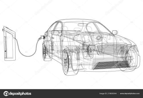 small resolution of electric vehicle charging station sketch vector rendering of 3d wire frame style the layers of visible and invisible lines are separated vector by