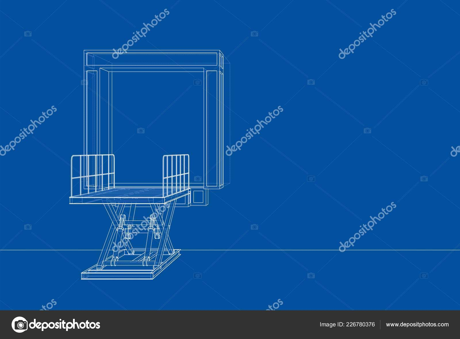 hight resolution of dock leveler concept vector rendering of 3d wire frame style the layers of visible and invisible lines are separated vector by cherezoff