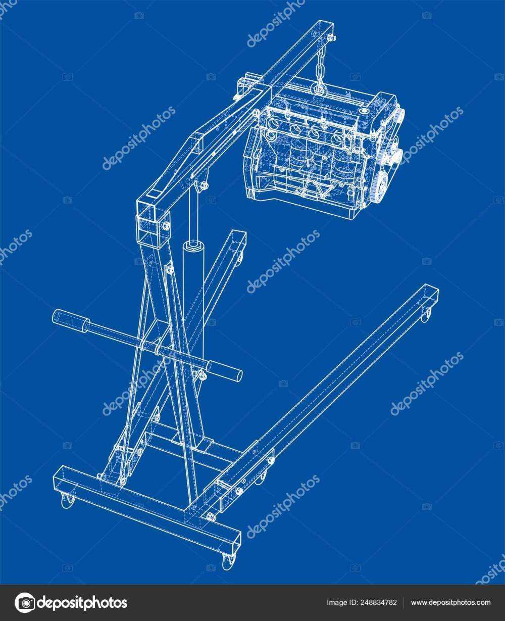 medium resolution of engine hoist with engine outline stock vector