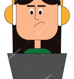 a beautiful girl in a green top wears yellow headphones works in a laptop with eyes rolled down has a smirk expression on her face vector color drawing or  [ 955 x 1700 Pixel ]