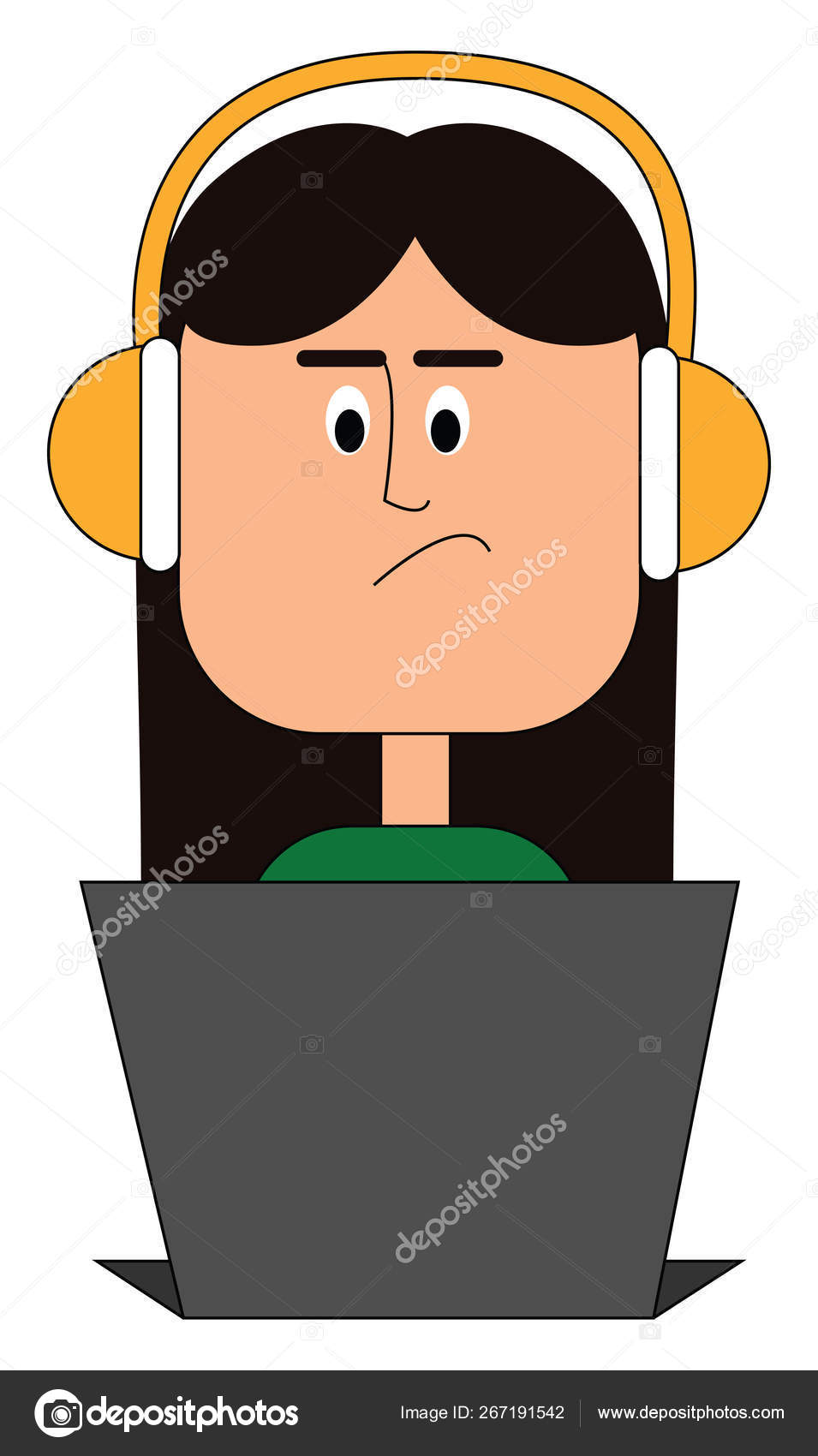 hight resolution of a beautiful girl in a green top wears yellow headphones works in a laptop with eyes rolled down has a smirk expression on her face vector color drawing or