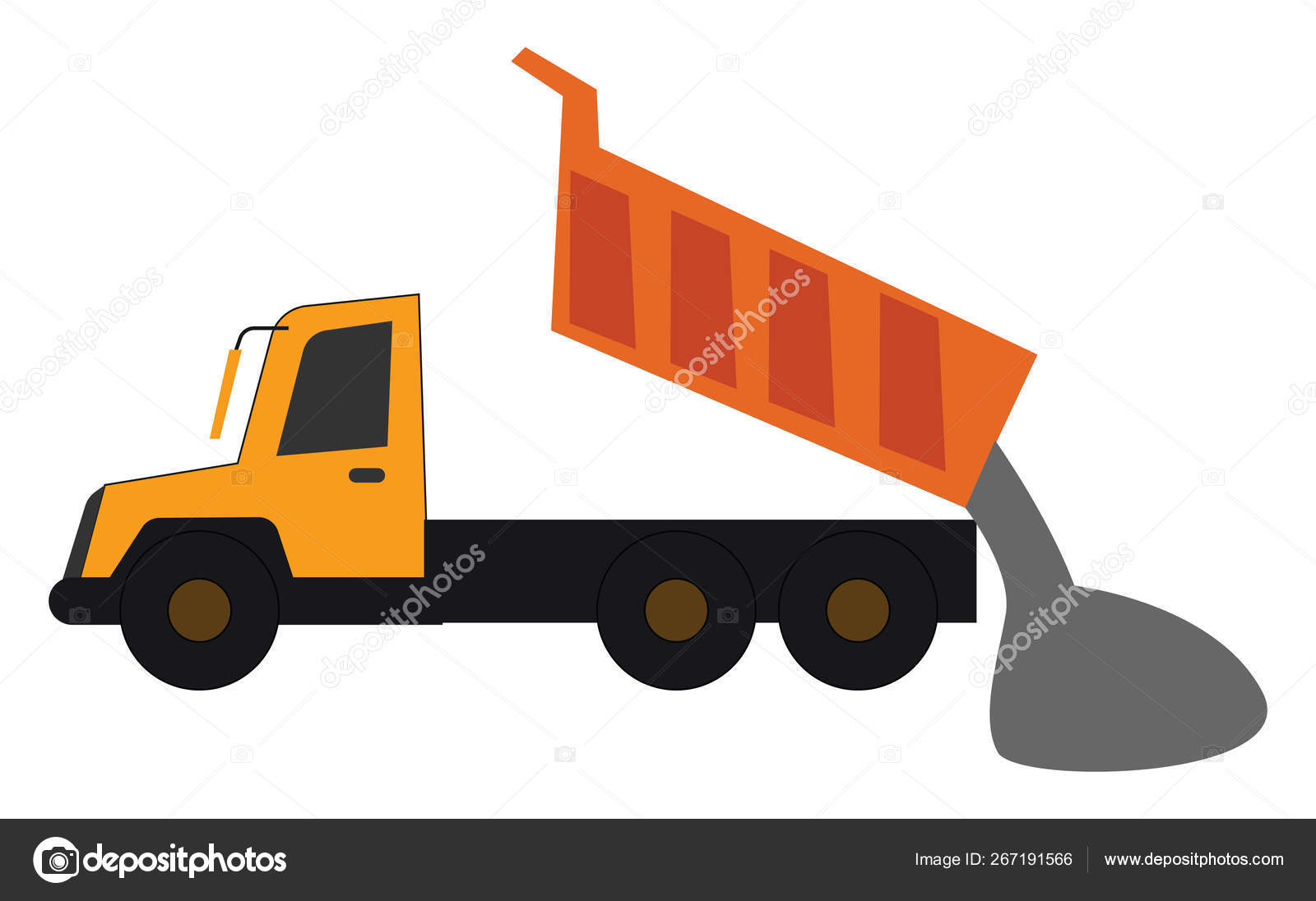 hight resolution of a yellow dump truck in operational process the loaded gravel slides out when the bed is lifted set isolated on white background viewed from the side
