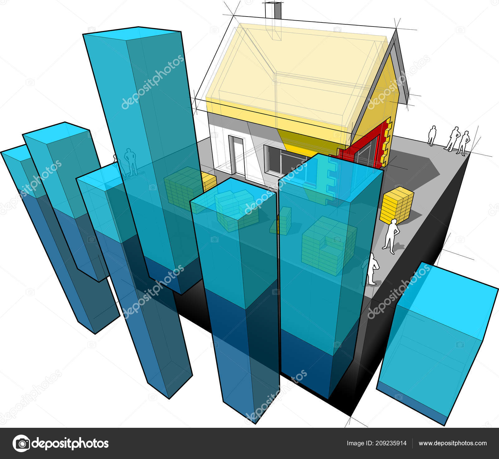 house insulation diagram citroen c4 boot wiring detached additional wall roof abstract business stock vector