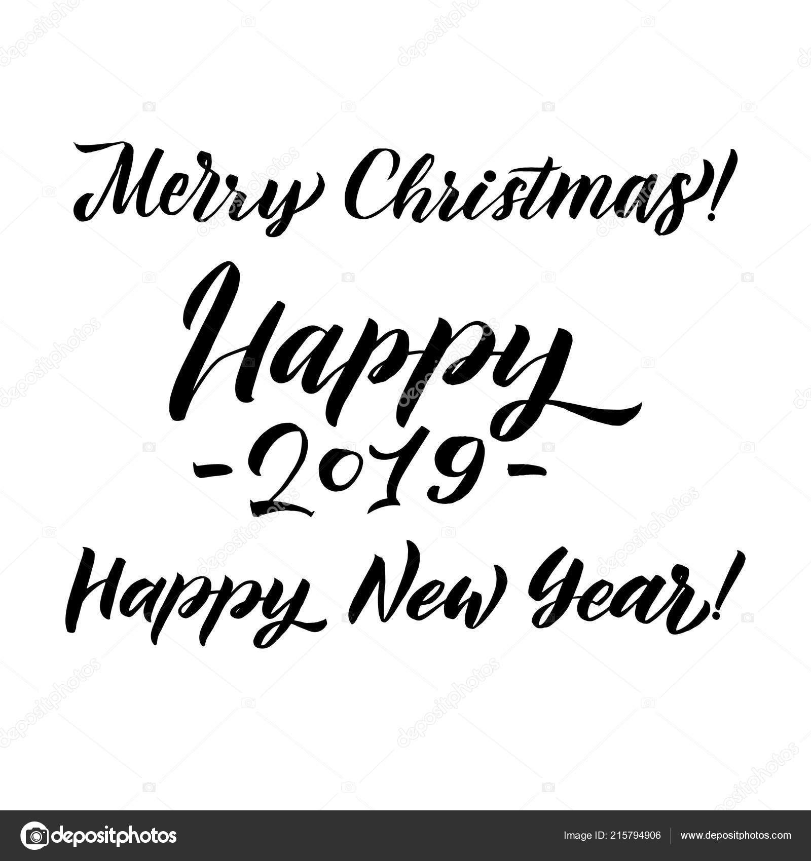 Merry Christmas And Happy New Year Calligraphy