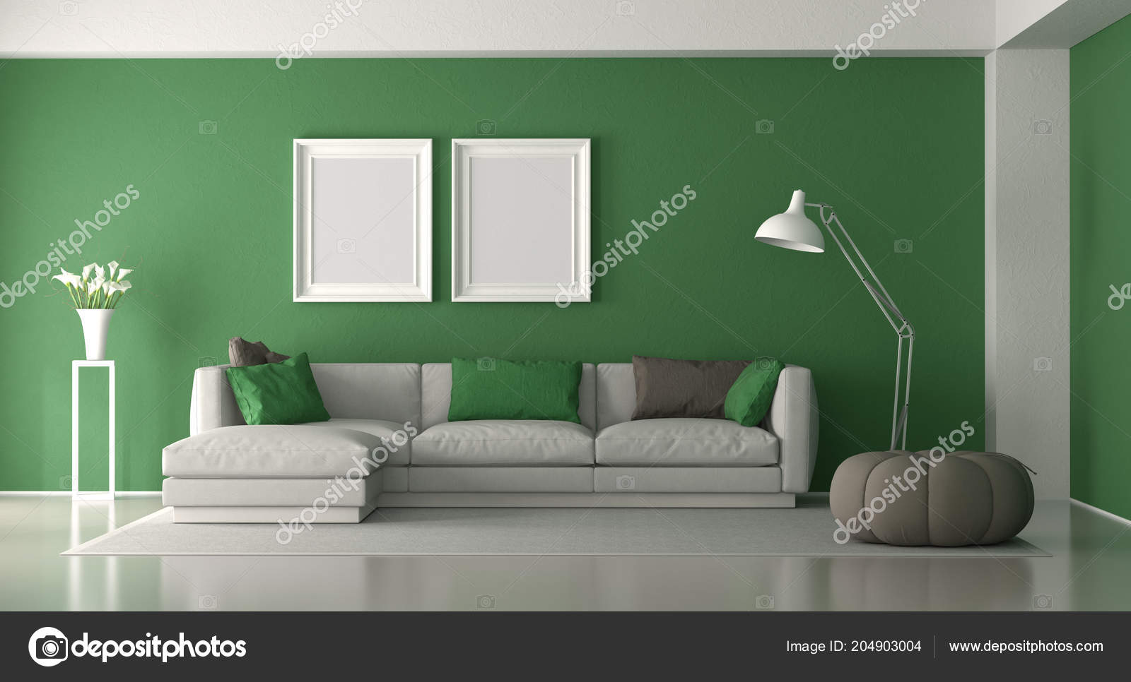 living room footstool contemporary curtains white green modern elegant sofa rendering and with 3d photo by archideaphoto