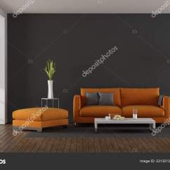 Living Room Footstool Good Colors Feng Shui Modern Orange Sofa Gray Wall Rendering Stock With And Against 3d Photo By Archideaphoto