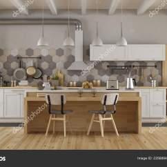 Islands For The Kitchen Paula Deen Cabinets 复古白色和木制厨房与岛屿和椅子 图库照片 C Archideaphoto 225689450