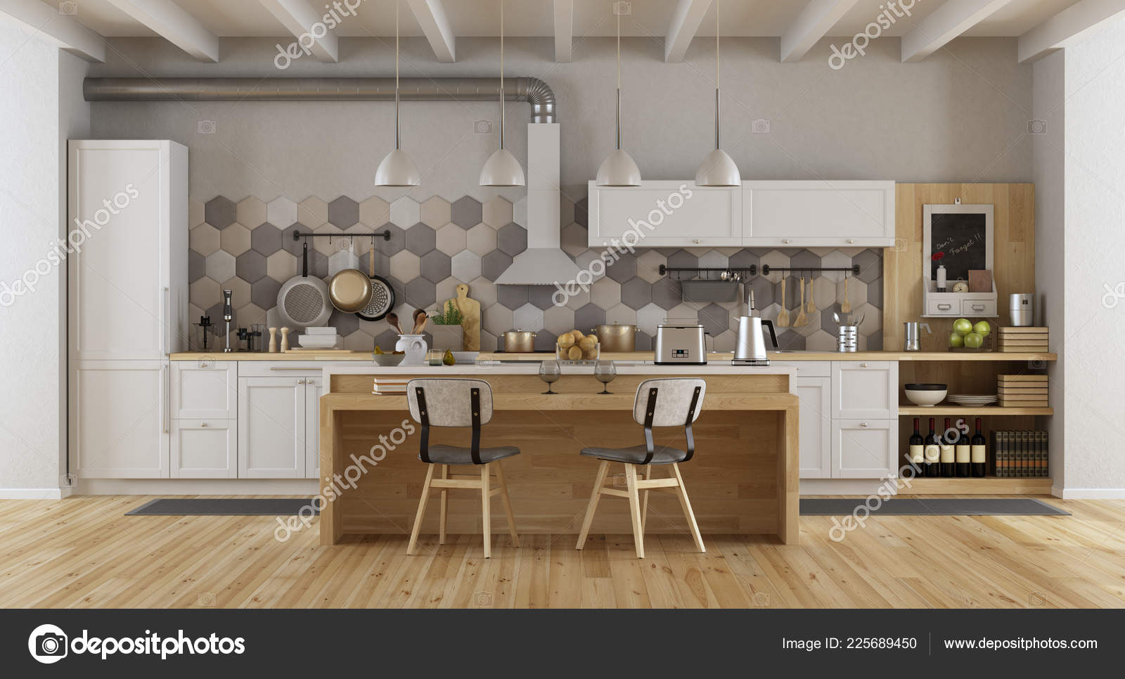 islands for the kitchen space savers cabinets 复古白色和木制厨房与岛屿和椅子 图库照片 c archideaphoto 225689450