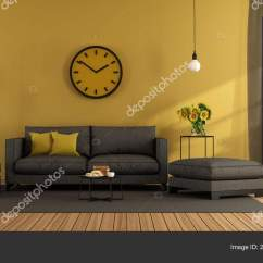 Living Room Footstool Dark Furniture Modern Gray Sofa Yellow Wall Rendering Stock With And Against 3d Photo By Archideaphoto