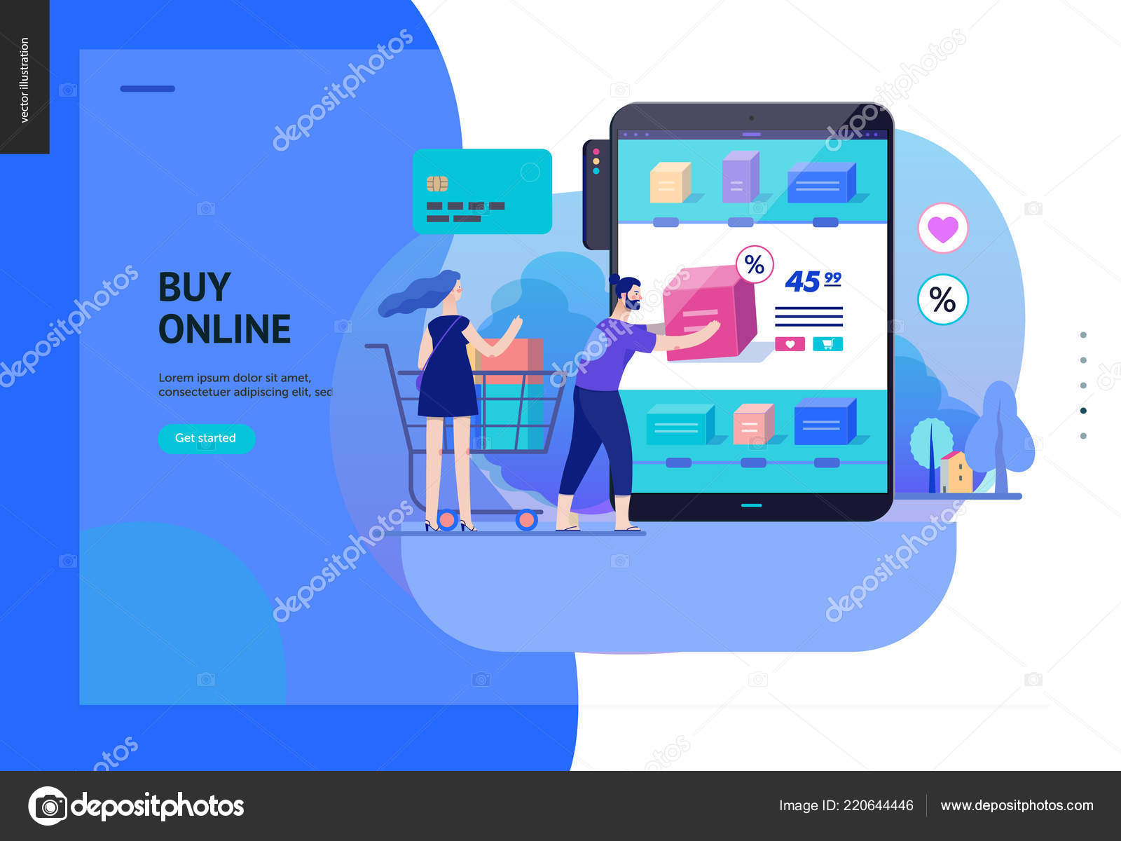 With a minimalist design, the theme is a. Business Series Buy Online Shop Web Template Stock Vector Image By C Grivina 220644446