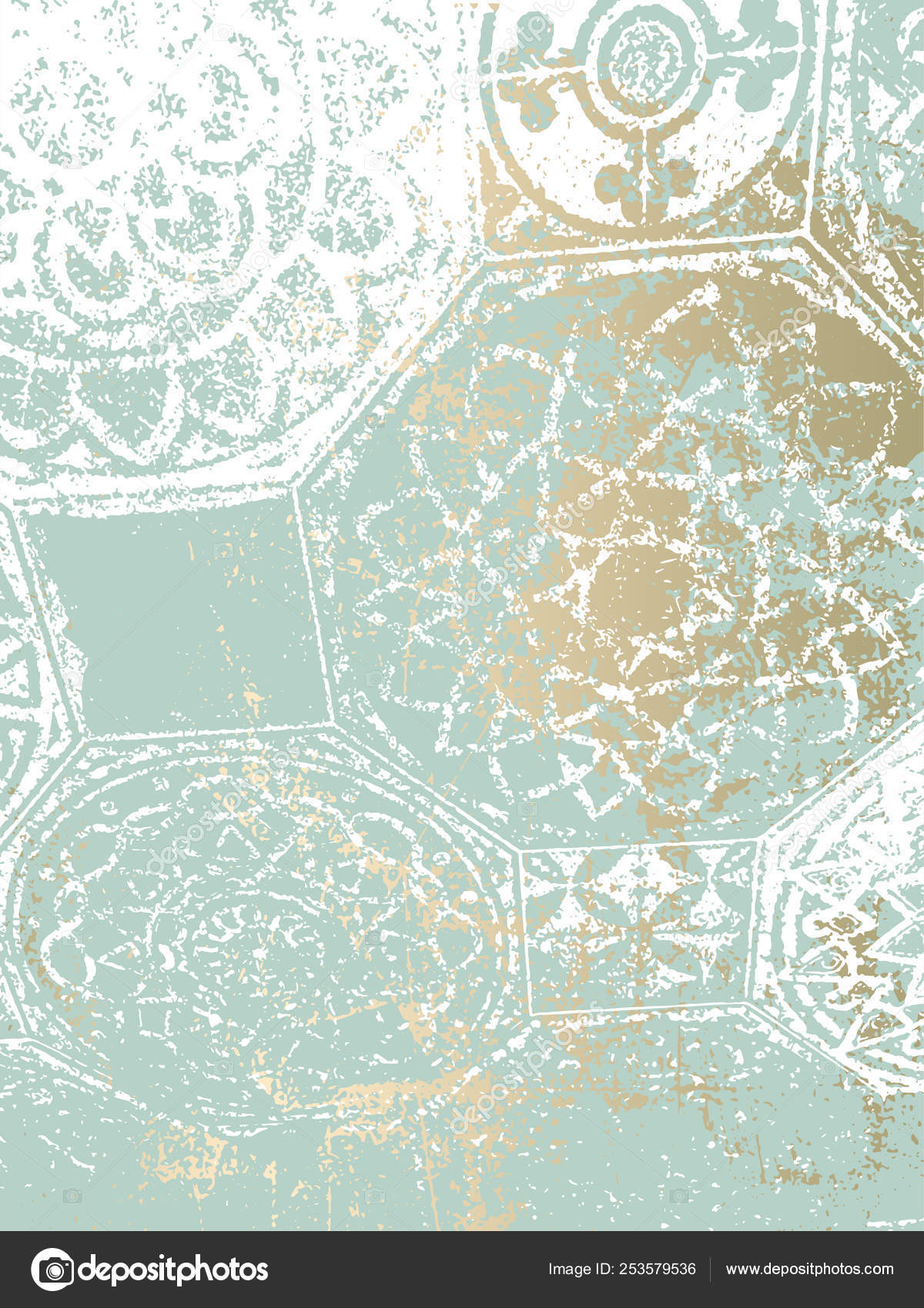 Arabesque Motifs Vintage Gold Pastel Paint Patina Tile Stock Vector Anna Sokol 253579536