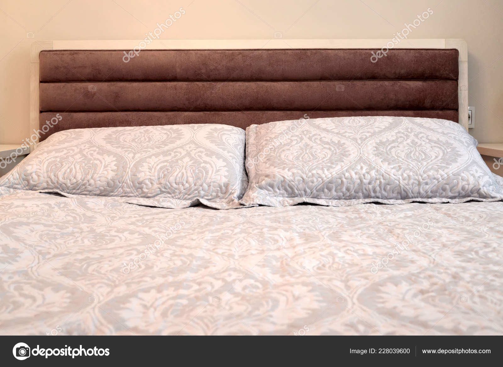headboard double bed pillows scandinavian style stock photo image by c vodolej 228039600