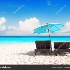 Beach Chairs And Umbrella Desk Chair Wheel Beautiful Sand Stock Photo
