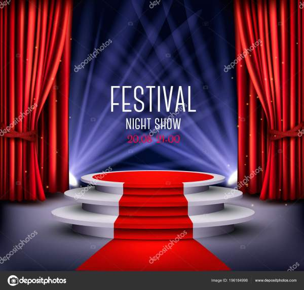 Festival Night Show Poster Showroom Background Red Carpet