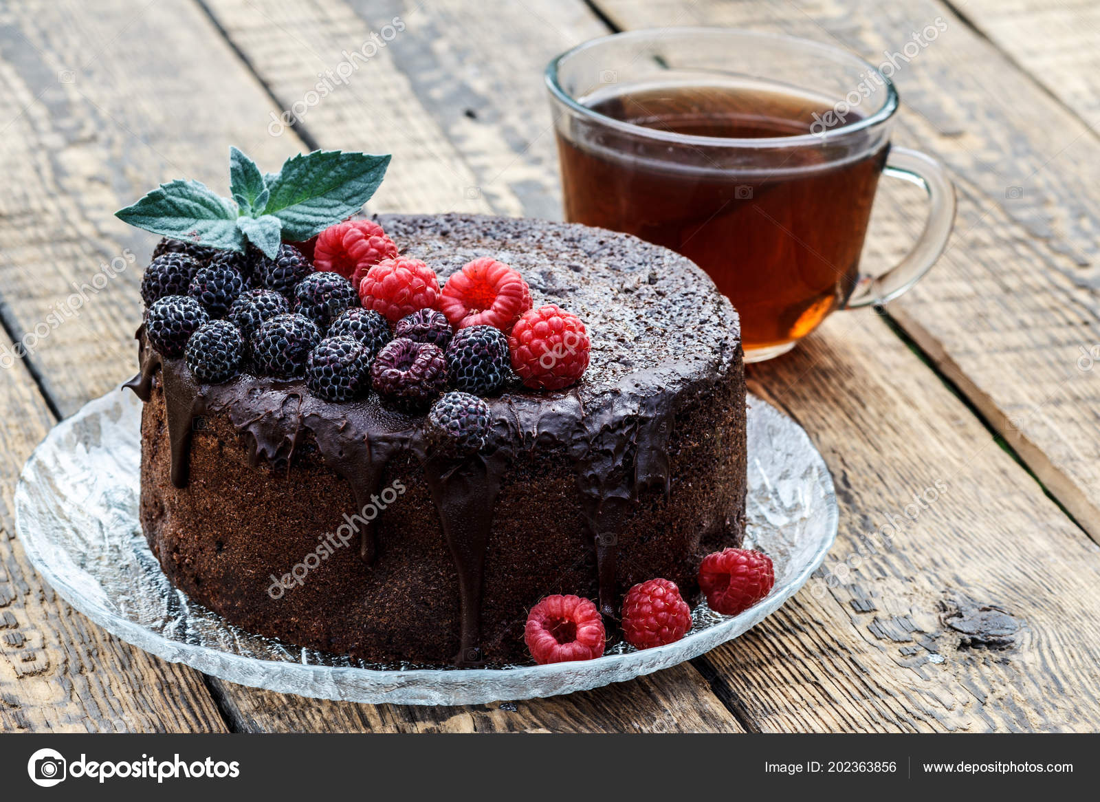 Homemade Chocolate Cake Decorated Mint Leaves Black Red Raspberries