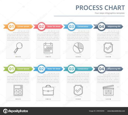 small resolution of process chart flow chart template infographics design elements numbers text stock vector