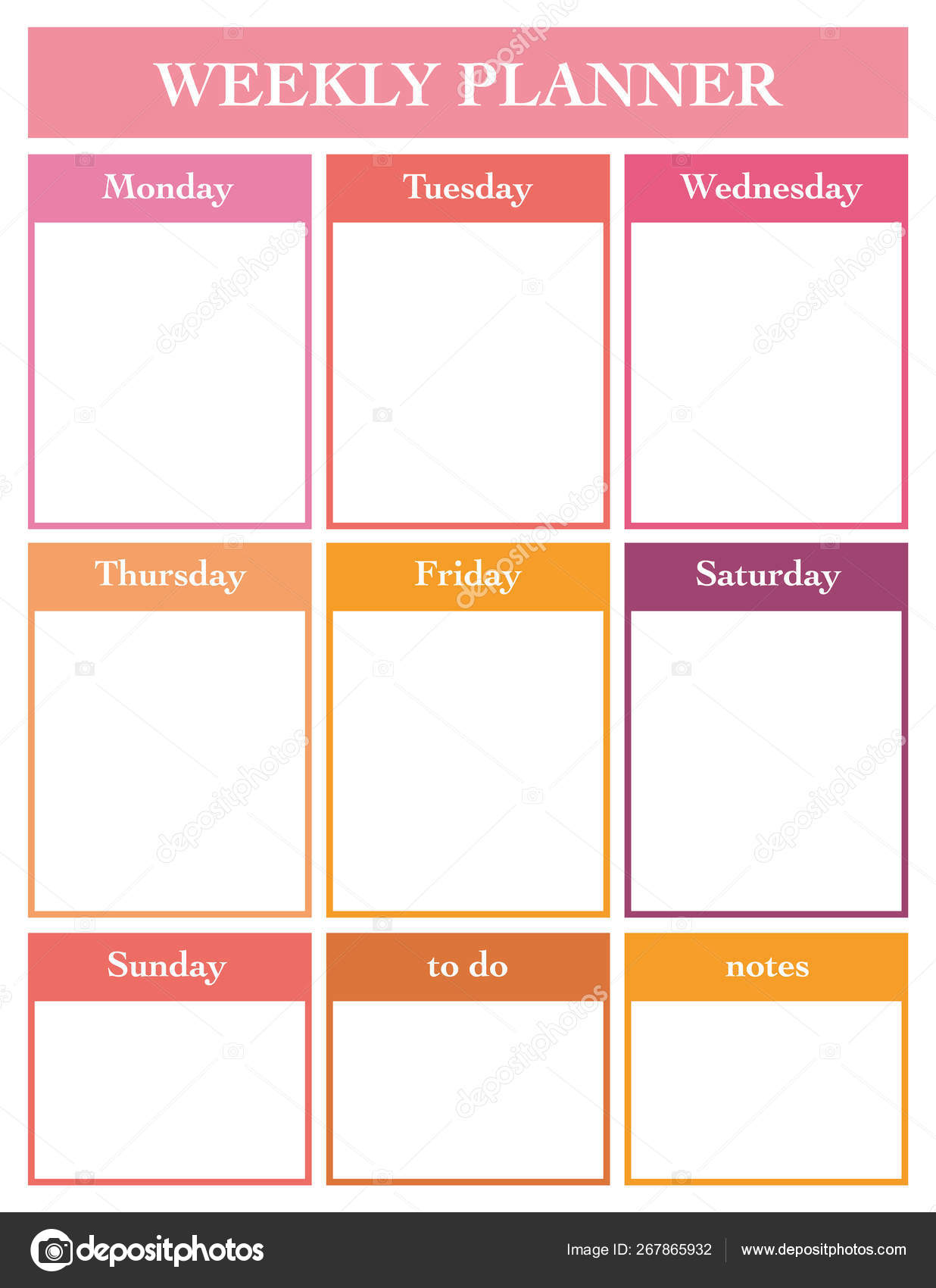Weekly Planner Printable Page Vector Template Diary