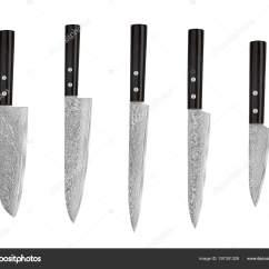 Damascus Kitchen Knives Home Depot Floor Tile 一套日本钢厨房刀大马士革 在白色背景被隔绝与修剪路径 主厨刀 图库