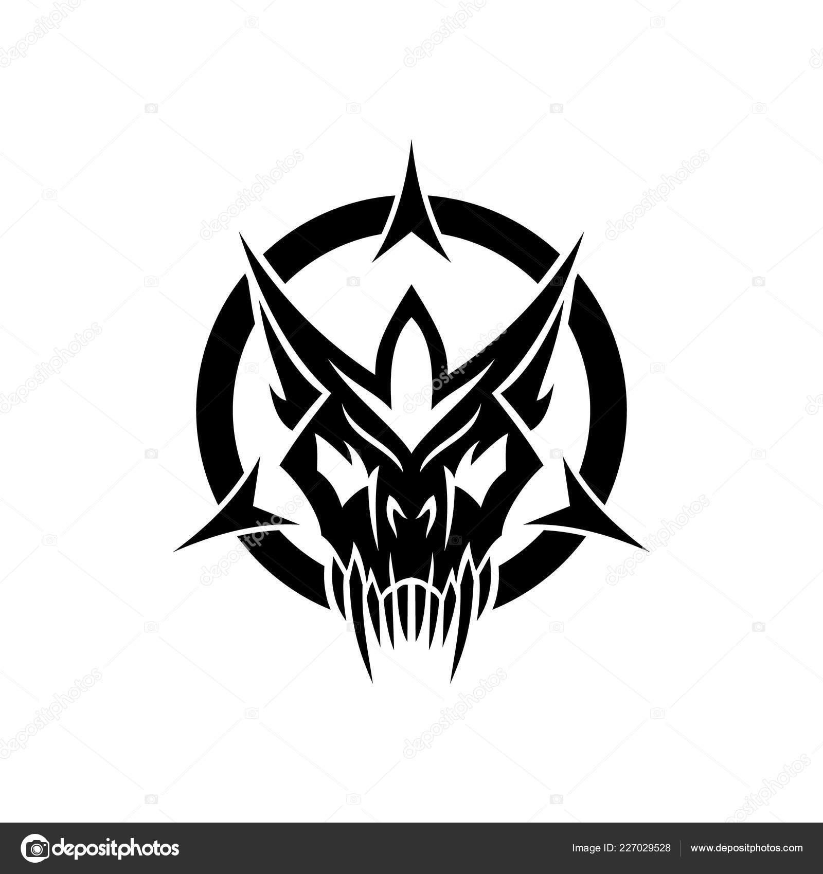 demon skull circle logo