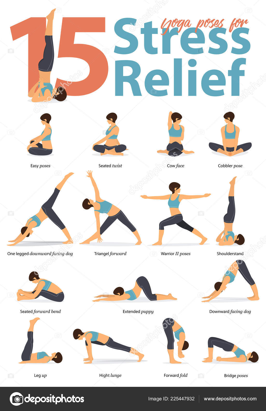 Set Yoga Postures Female Figures Infographic Yoga Poses
