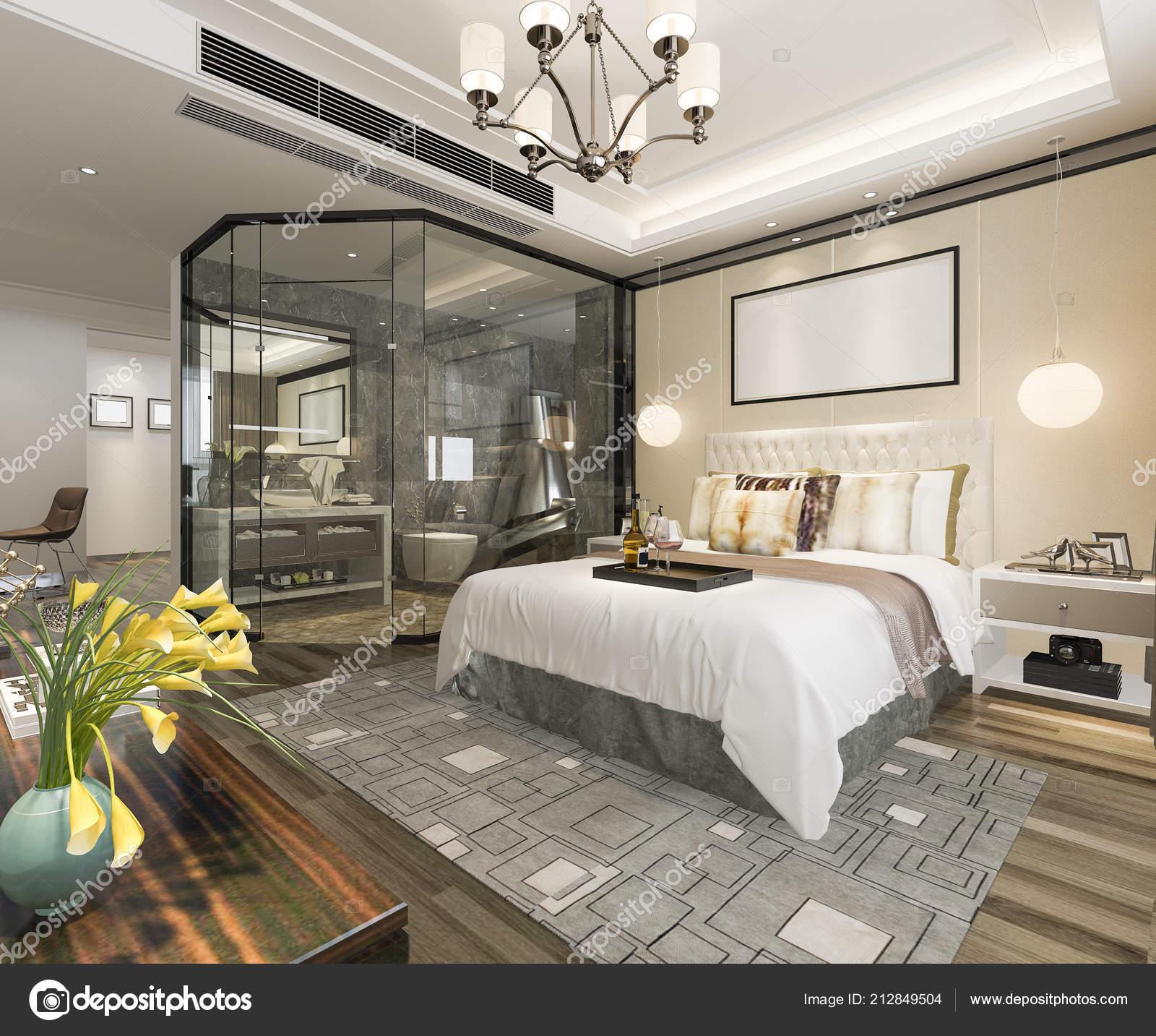 Salle Bain Suite Chambre Coucher Luxe Moderne Rendu Photographie