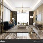 Rendering Luxury Classic Living Room Marble Tile Bookshelf Stock Photo C Dit26978 234700364