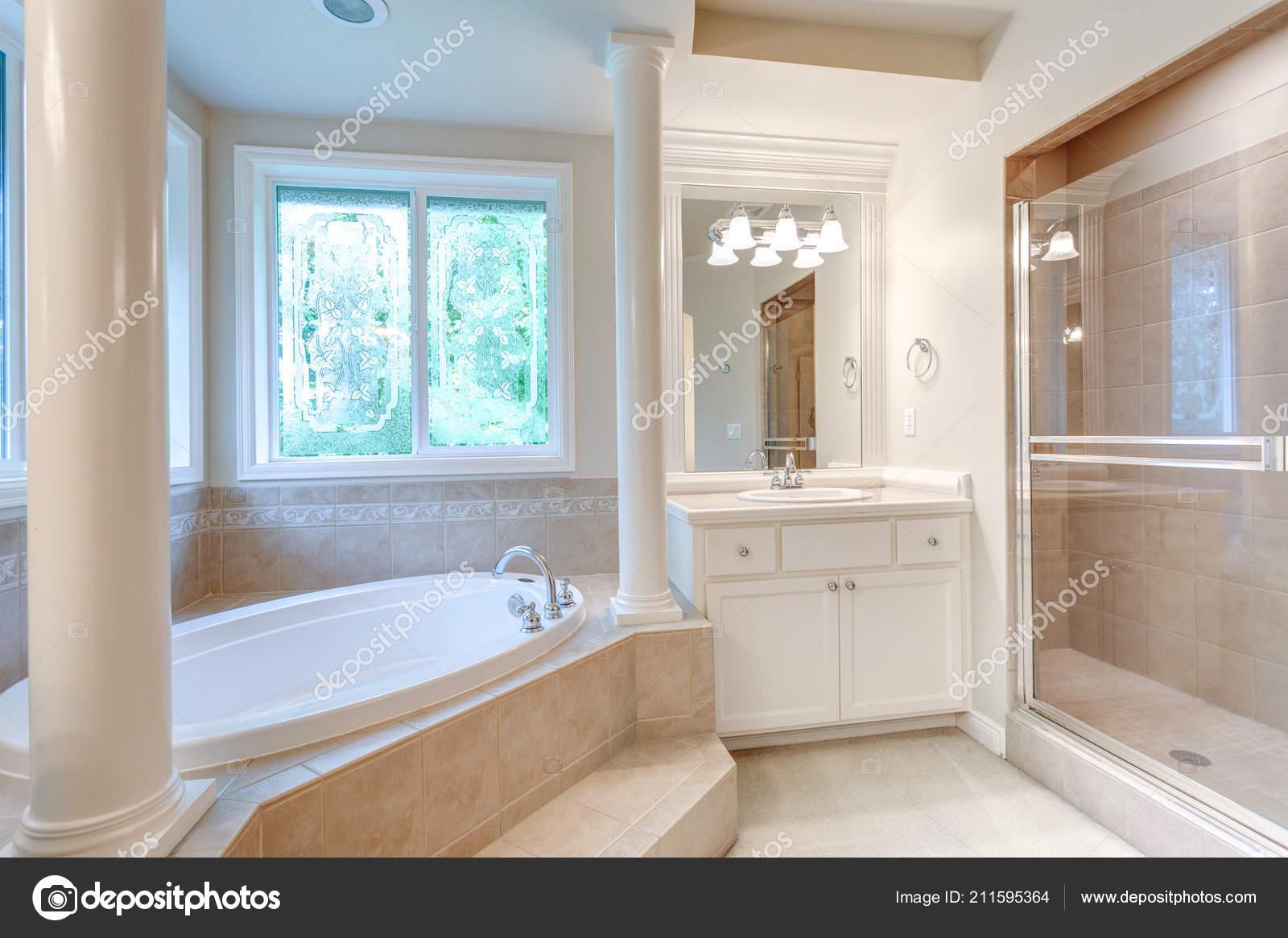 Pictures Bathroom Windows Luxury Master Bathroom Corner Tub Stained Glass Windows White Vanity Stock Photo C Alabn 211595364