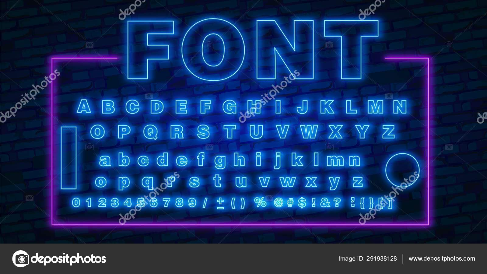 neon font 80s text