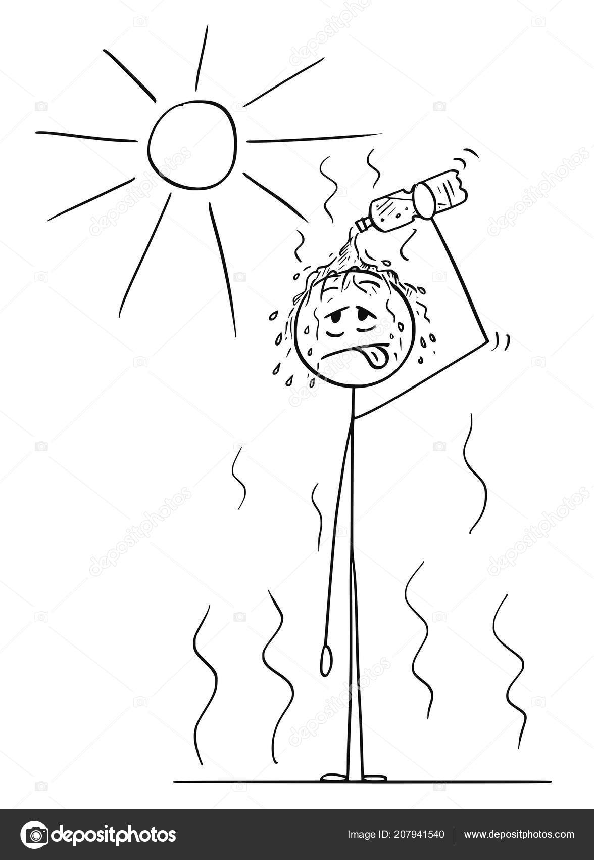 hight resolution of cartoon of man in hot summer pouring water from bottle on his head stock illustration
