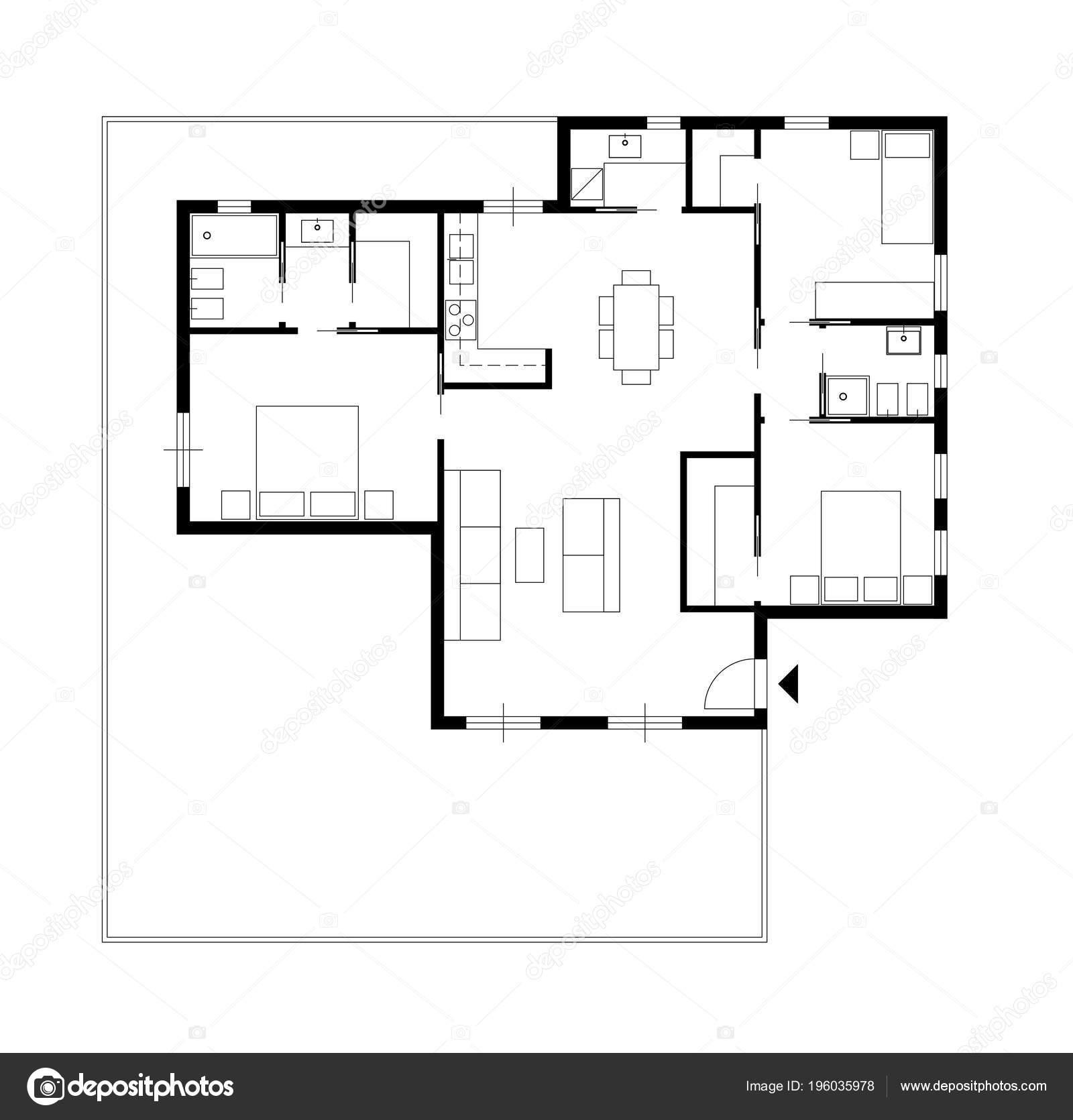 architecture d 39 int rieur dessin dessin architecture une maison priv e avec cuisine chambres salon. Black Bedroom Furniture Sets. Home Design Ideas