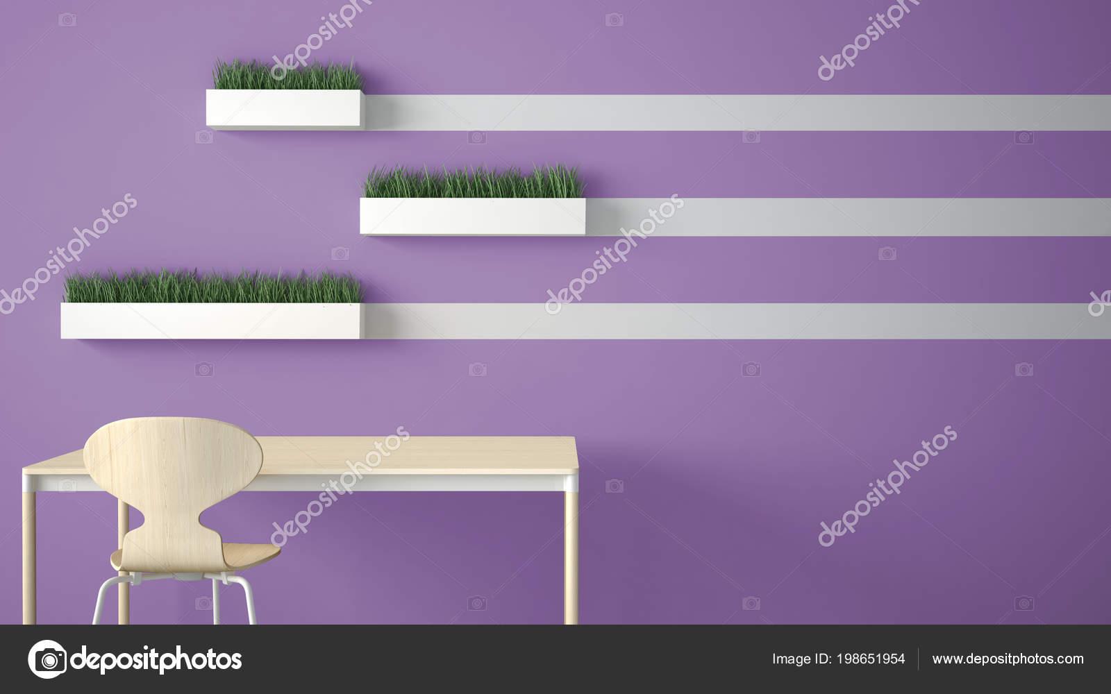 kitchen shelf ideas lights menards 简约的建筑师设计理念桌子和椅子厨房或办公室与架子与草花瓶在紫罗兰色 简约的建筑师设计理念 桌子和椅子 厨房或办公室与架子与草花瓶在紫罗兰色背景 室内设计想法与拷贝空间 照片作者archiviz