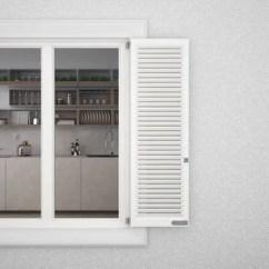 Blinds For Kitchen Windows Nook Curtains 外墙带百叶窗的白色窗口显示室内经典厨房与表空白背景与复制空间建筑设计 带百叶窗的白色窗户的外部石膏墙