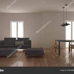 Clean Living Room Pouf In Modern Kitchen Dining Table Sofa Chaise Stock Photo