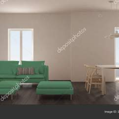 Pouf In Living Room Affordable Wall Decor Minimalist Scandinavian Kitchen Dining Table Sofa Chaise Stock Photo