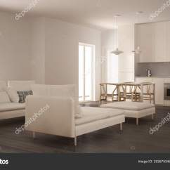 Living Room Pouf Luxury Ideas Uk Modern Clean Kitchen Dining Table Sofa Chaise Stock Photo