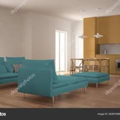 Blue Kitchen Chairs Home Depot Cabinet 现代洁净客厅与厨房和餐桌脚凳和贵妃椅最小的蓝色和黄色的室内设计 图库 现代洁净客厅与厨房和餐桌脚凳和贵妃椅最小的蓝色