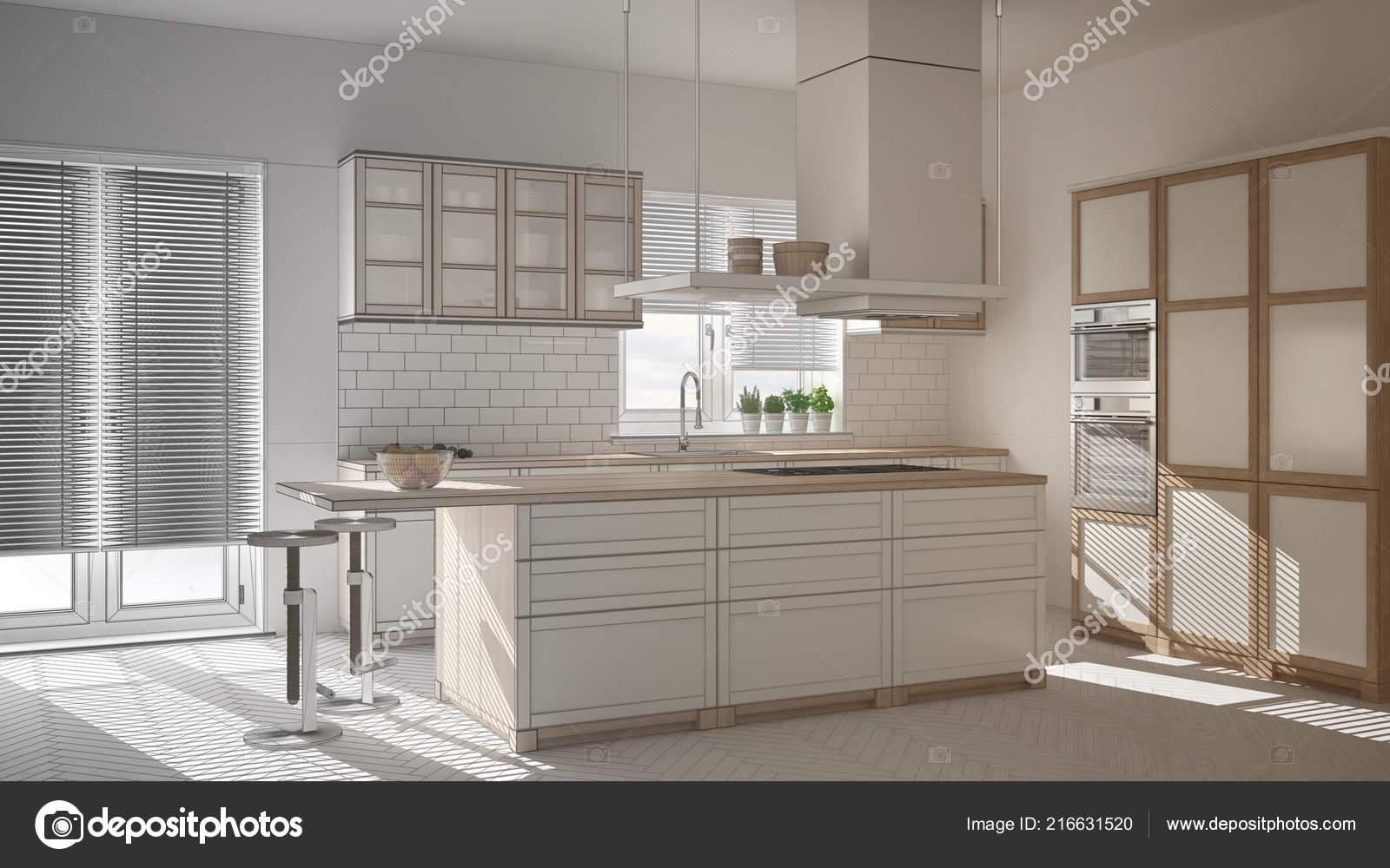 islands for the kitchen large round table sets 未完成的项目的现代木白色厨房与岛屿凳子和窗户镶木人字地板 图库照片 未完成的项目的现代木白色厨房与岛屿凳子和窗户镶木