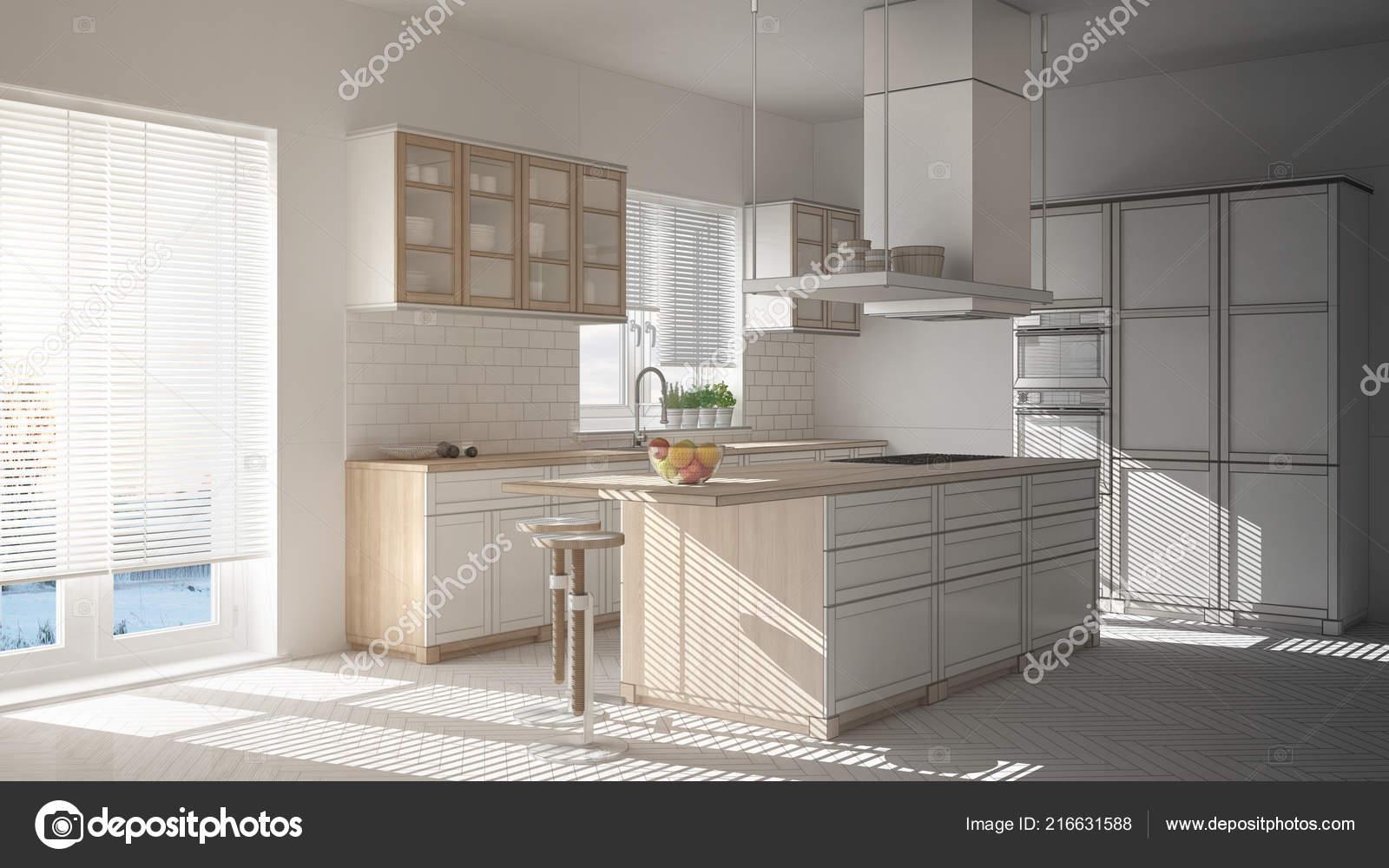 islands for the kitchen table chairs 未完成的项目的现代木白色厨房与岛屿凳子和窗户镶木人字地板 图库照片 未完成的项目的现代木白色厨房与岛屿凳子和窗户镶木