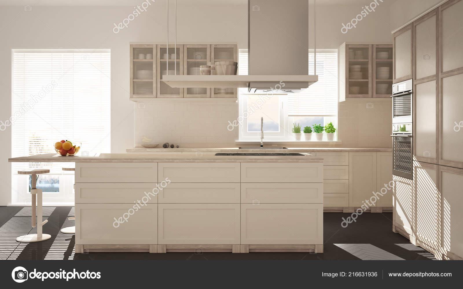 white kitchen floor countertop shelf 现代木制和白色厨房与海岛凳子和窗口镶木地板建筑简约室内设计 图库照片 现代木制和白色厨房与海岛凳子和窗口镶木地板建筑简约