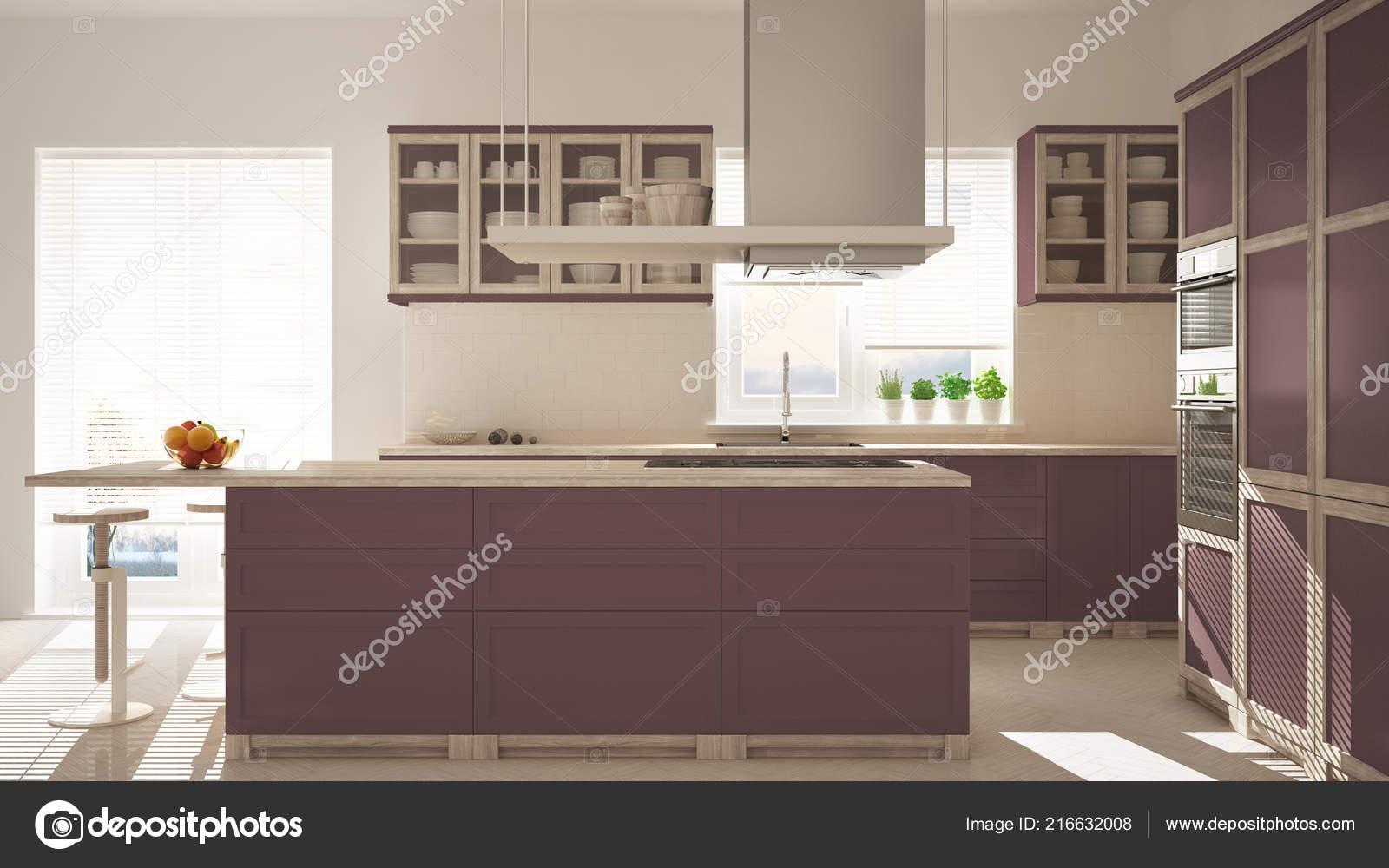 kitchen stool clocks for sale 现代木红色紫色厨房凳子和窗户镶木人字地板建筑简约的室内设计 图库照片 现代木红色紫色厨房凳子和窗户镶木人字地板建筑简约的