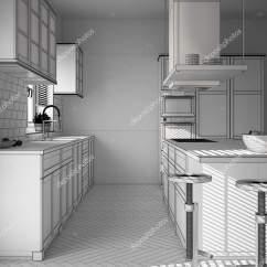 Kitchen Stool Single Bowl Undermount Sink 未完成的项目的现代木白色厨房与岛屿凳子和窗户镶木人字地板 图库照片 未完成的项目的现代木白色厨房与岛屿凳子和窗户镶木
