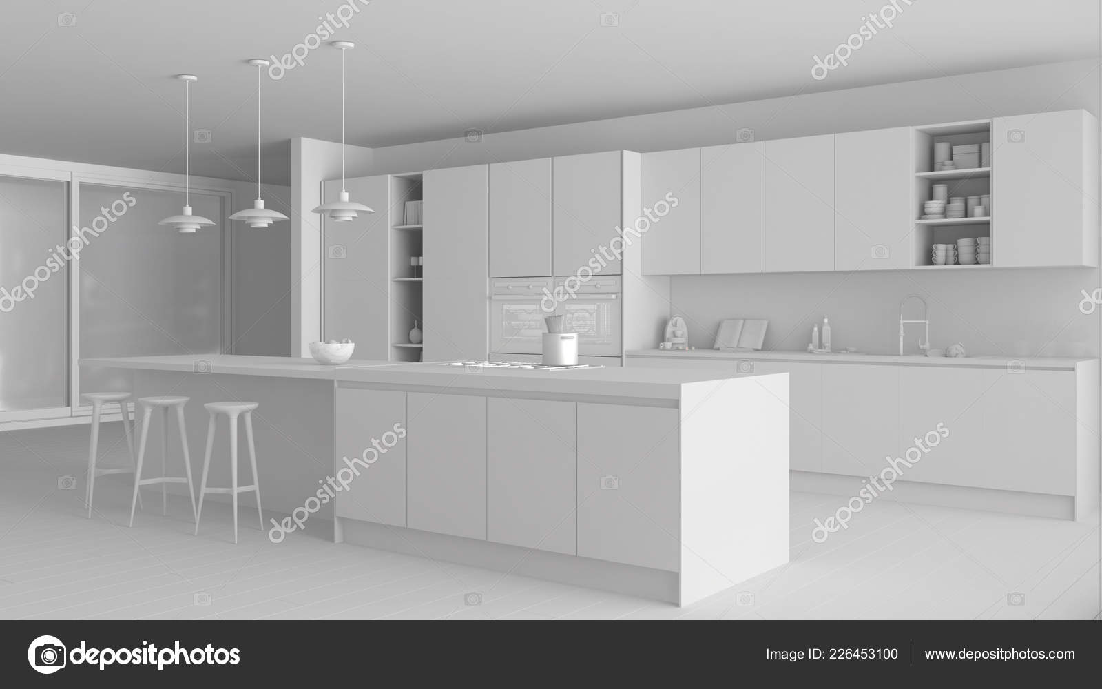 islands for the kitchen stone sink 全白工程的现代简约厨房与岛屿和大全景窗口 镶木地板 吊灯 当代建筑 镶木