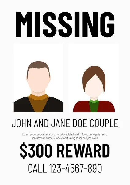 missing poster template male and