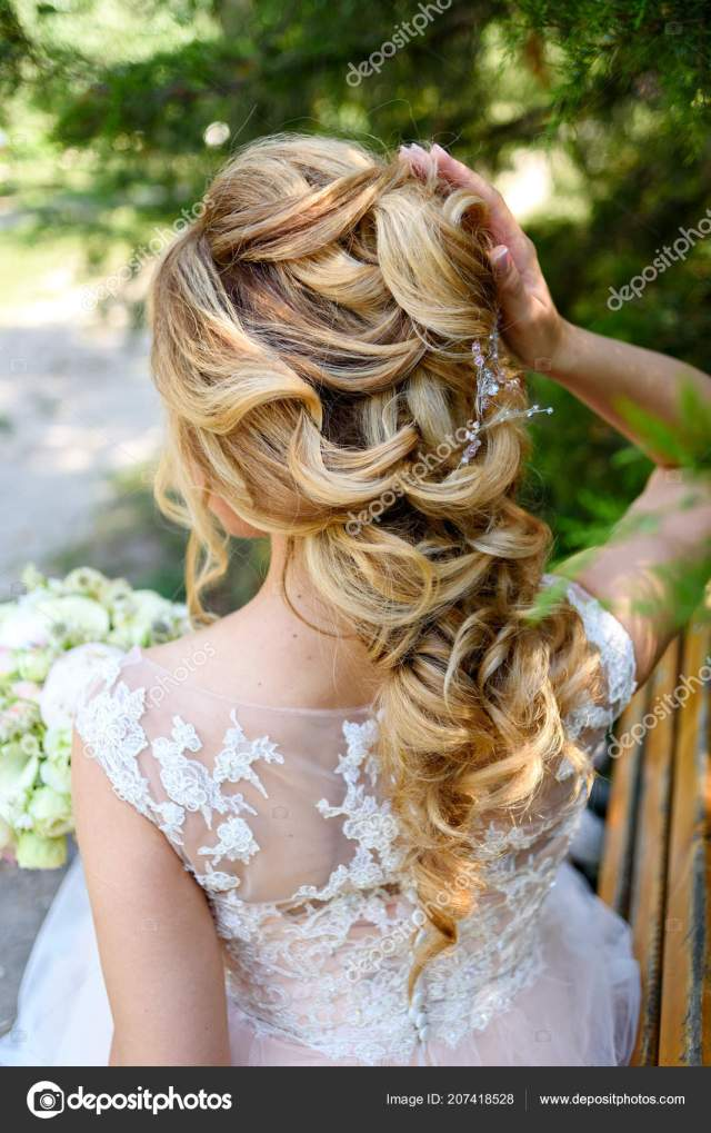 beautiful bride fashion wedding hairstyle jewelry back view