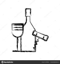 contour wine bottle and glass with corkscrew vector illustration design vector by  [ 1600 x 1700 Pixel ]