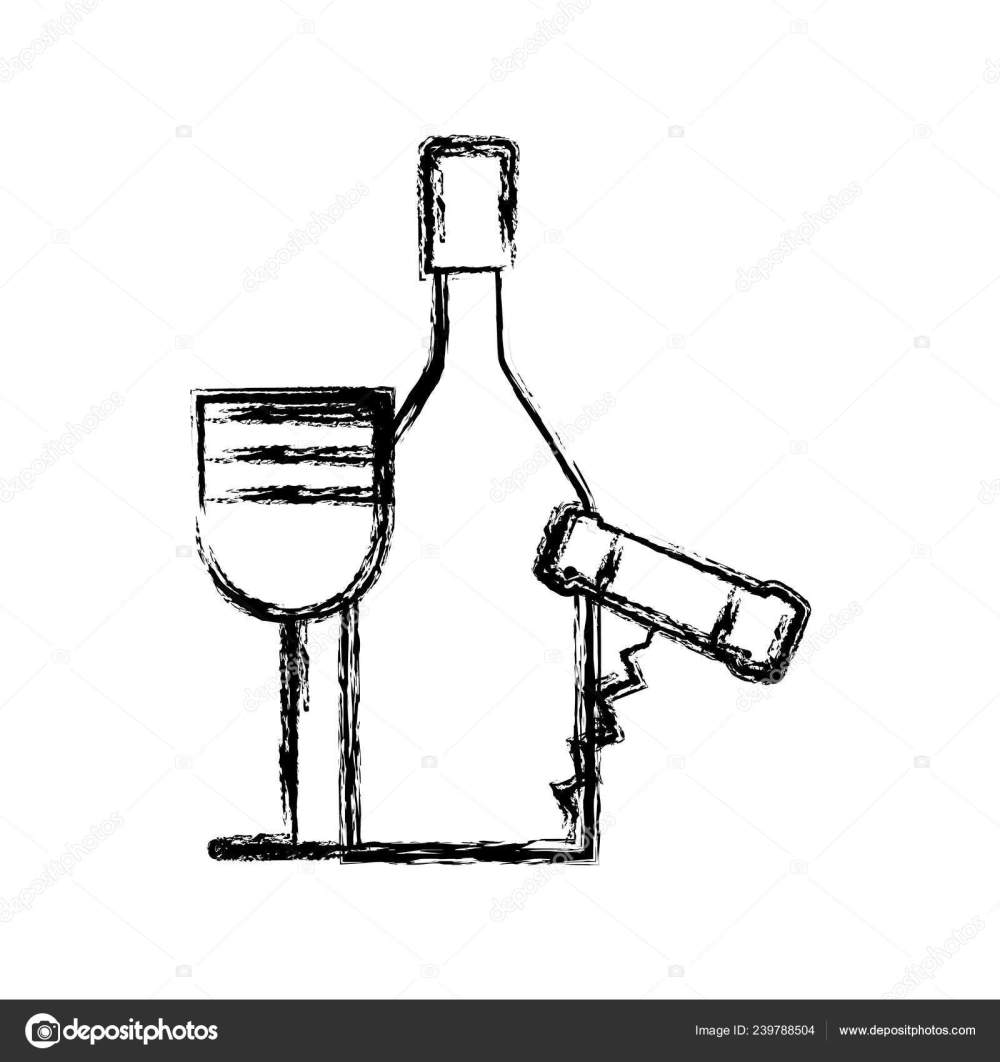 medium resolution of contour wine bottle and glass with corkscrew vector illustration design vector by