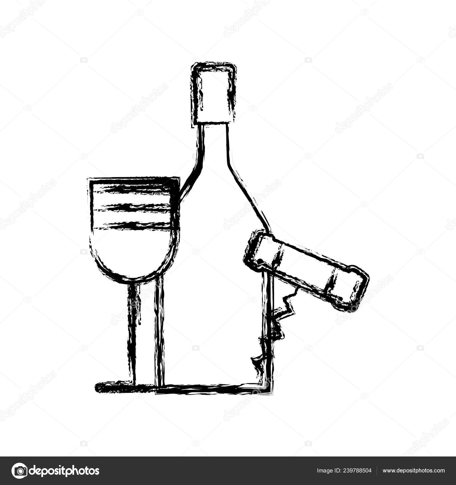hight resolution of contour wine bottle and glass with corkscrew vector illustration design vector by